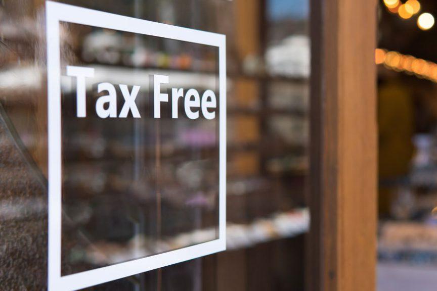Tax free window sign